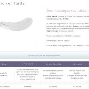 page présentation des tarifs massage naturiste