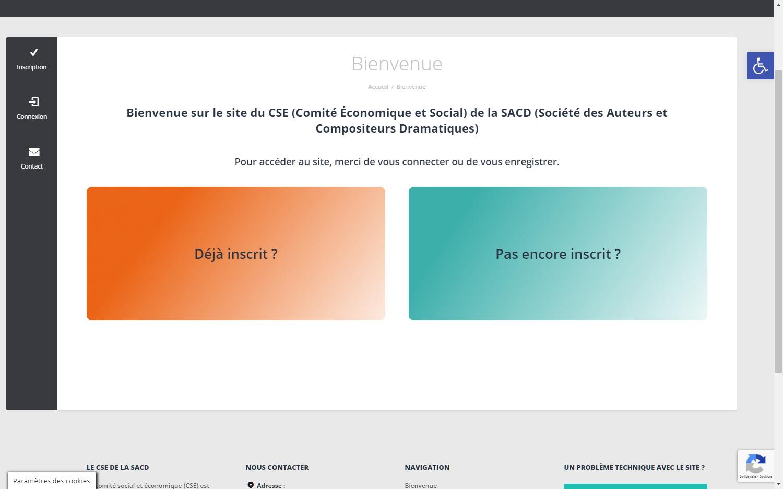 Comité Social et Économique de la SACD page de connexion